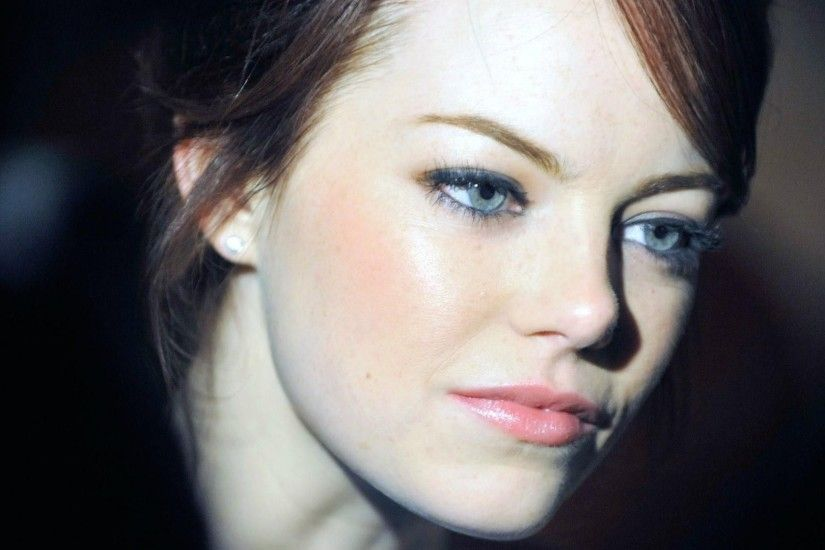 1920x1080 1920x1080 Wallpaper emma stone, brunette, makeup, face, smile