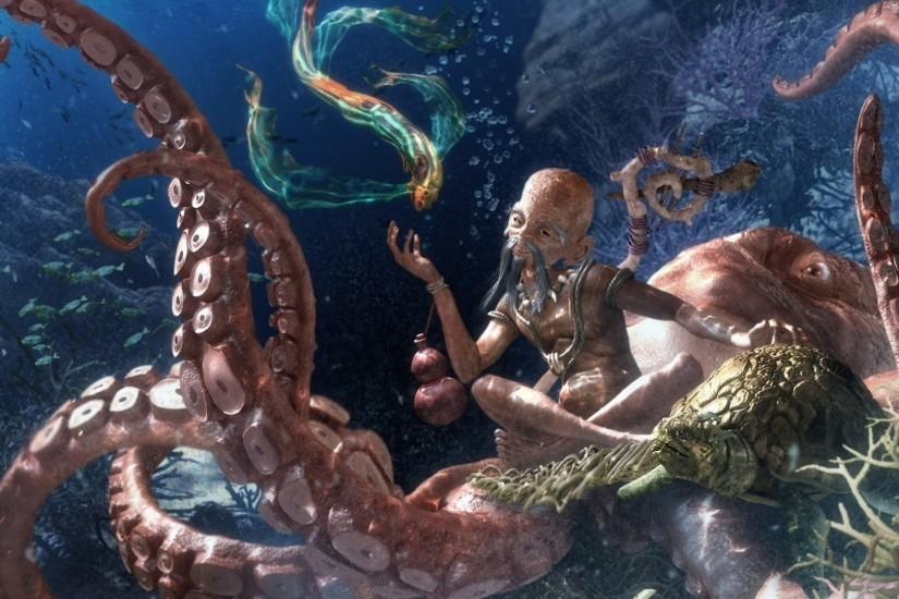 Preview wallpaper octopus, under water, beings 1920x1080