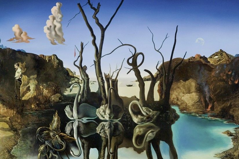 Wallpapers Salvador Dali Pictorial art Swans Reflecting Elephants Pictorial  art 2048x1536