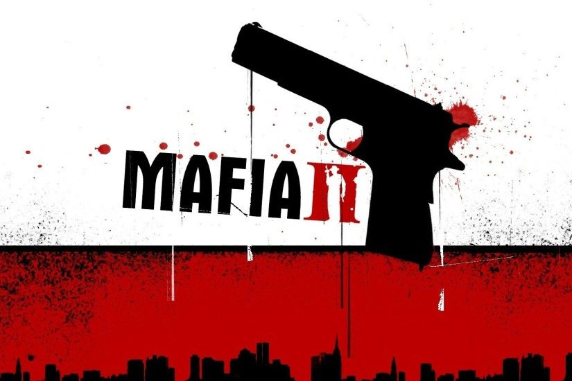 Preview wallpaper mafia 2, pistol, blood, city 1920x1080