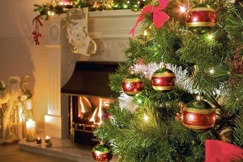 tree, christmas decorations, fireplace