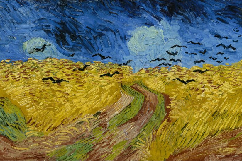 Van Gogh Museum, Amsterdam. An expansive painting of a wheatfield, with a  footpath going through the centre underneath dark