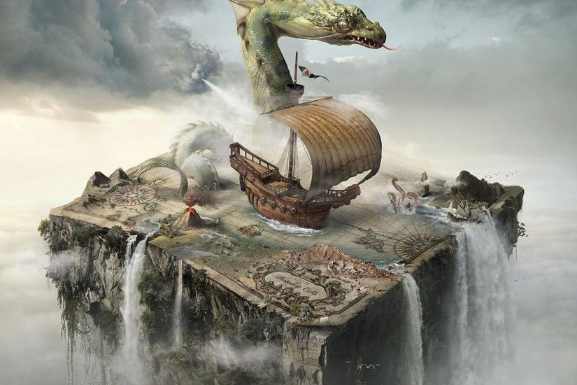 Boats Digital Art Fantasy Maps Photo Manipulation Surreal ...