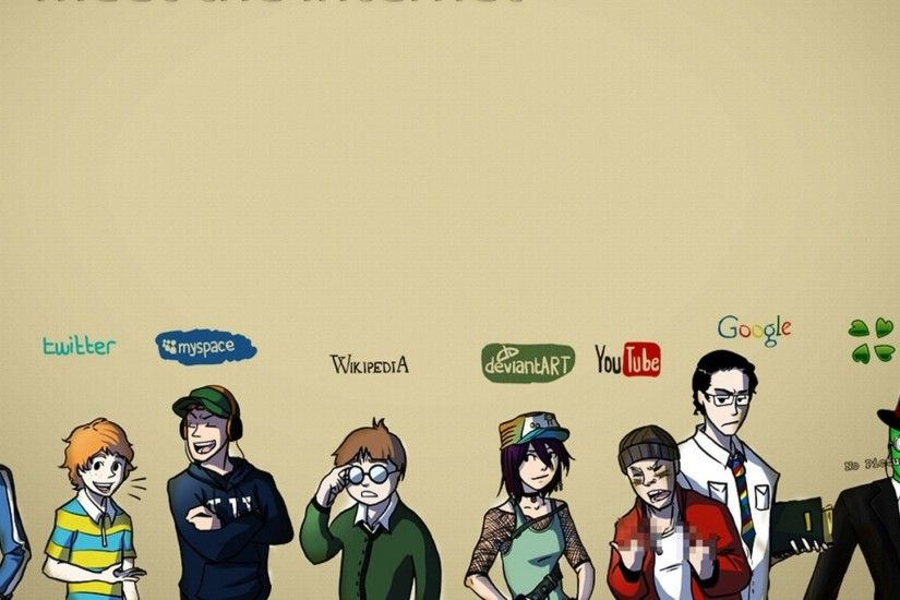 Preview wallpaper internet, facebook, twitter, myspace, wikipedia,  deviantart, youtube,