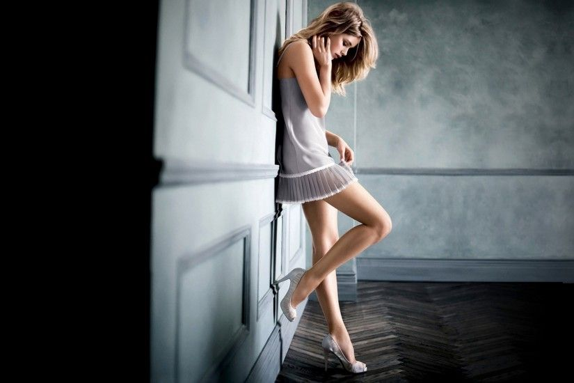 against Wall, Blonde, High Heels, White Dress, Doutzen Kroes, Women, Model  Wallpapers HD / Desktop and Mobile Backgrounds