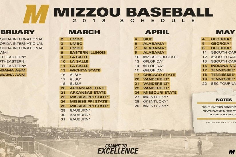 @MizzouBaseball Releases Exciting 2018 Schedule