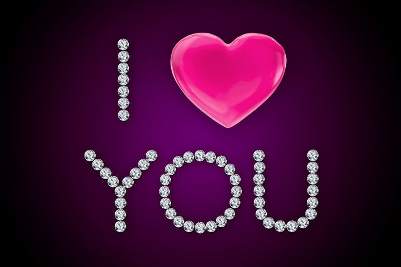I Love You Pink Heart Diamonds wallpapers and stock photos