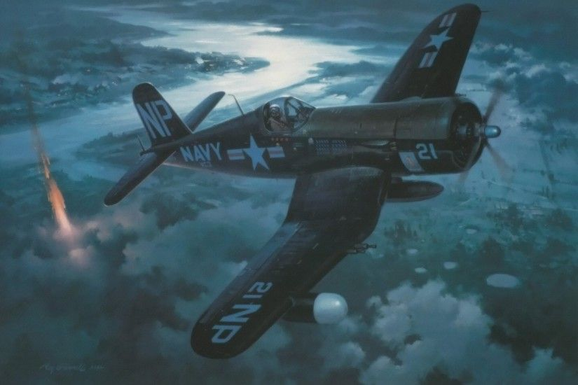 vought f4u corsair pacific fighter ww2 war art painting aviation aircraft  roy grinnell