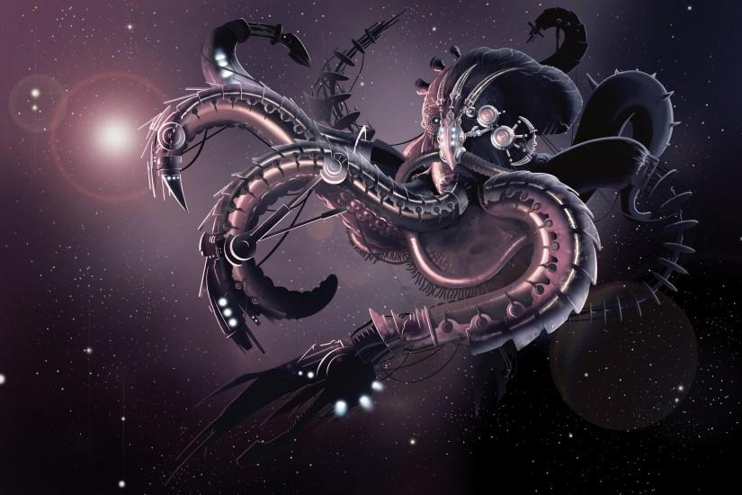 Wallpaper Creature, Octopus, Robot, Tentacles, Space, Stars