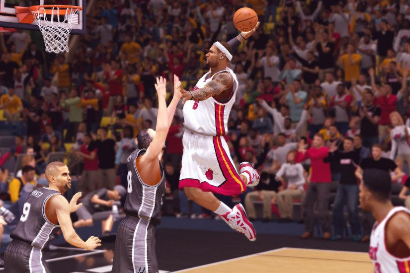 LeBron James dunking, Miami Heat, NBA 2K14 1920x1080 wallpaper