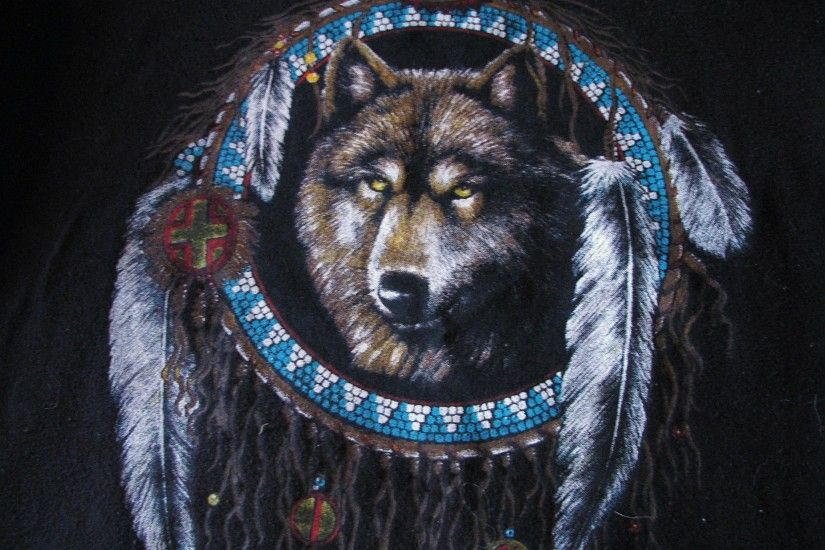 wolves & native american indian wallpaper clipart