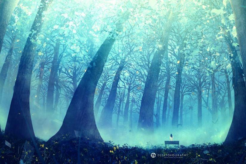 Anime Original Tree Landscape Wallpaper