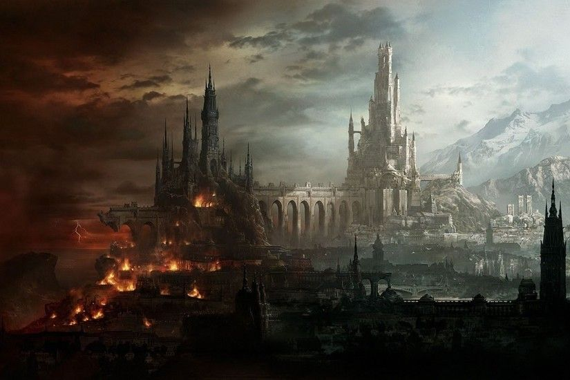 City Art Fantasy Castle Light Mountain Destruction Wallpaper At Fantasy  Wallpapers