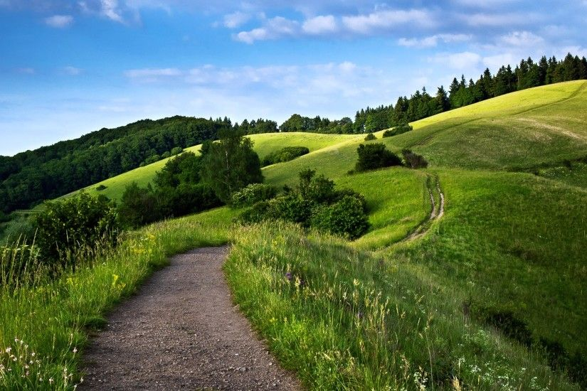 path, way, landscape, hills, mountains, forest, green, nature, spring, sky,  trees Wallpaper HD