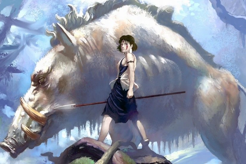 Brunettes hayao miyazaki animals princess mononoke brown eyes artwork  studio ghibli anime spears manga anime girls