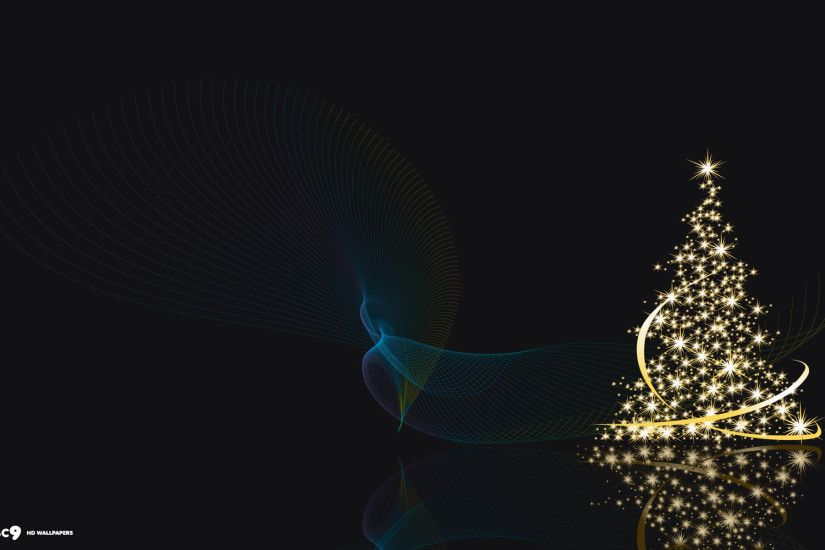 christmas tree shiny lights ribbons abstract holiday desktop background