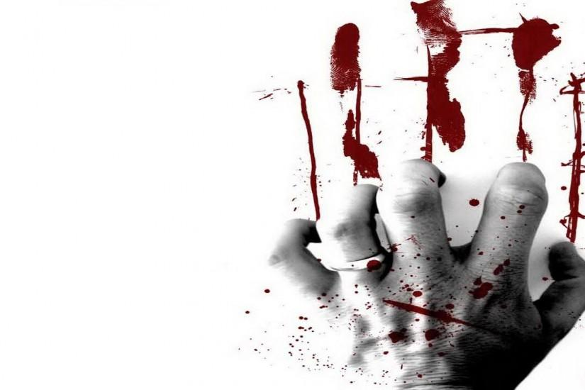 Bloody Hand White Background #8801103