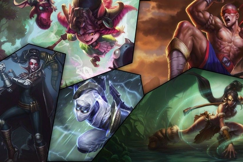 League of Legends Wallpaper - Champions Champion-Mix: Vayne, Dragon Trainer  Lulu, Shockblade Zed, Nidalee und Muay Thai Lee Sin