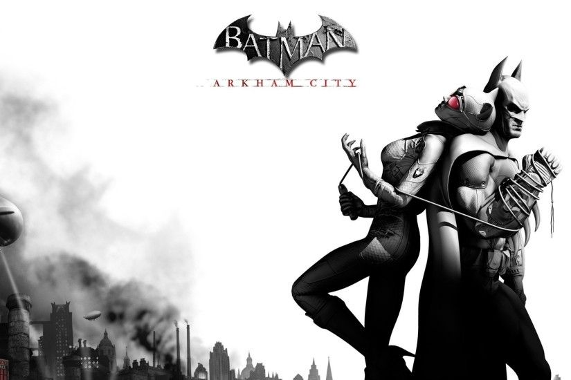 1920x1080 Wallpaper batman arkham city, catwoman, airship, city, clouds,  game,
