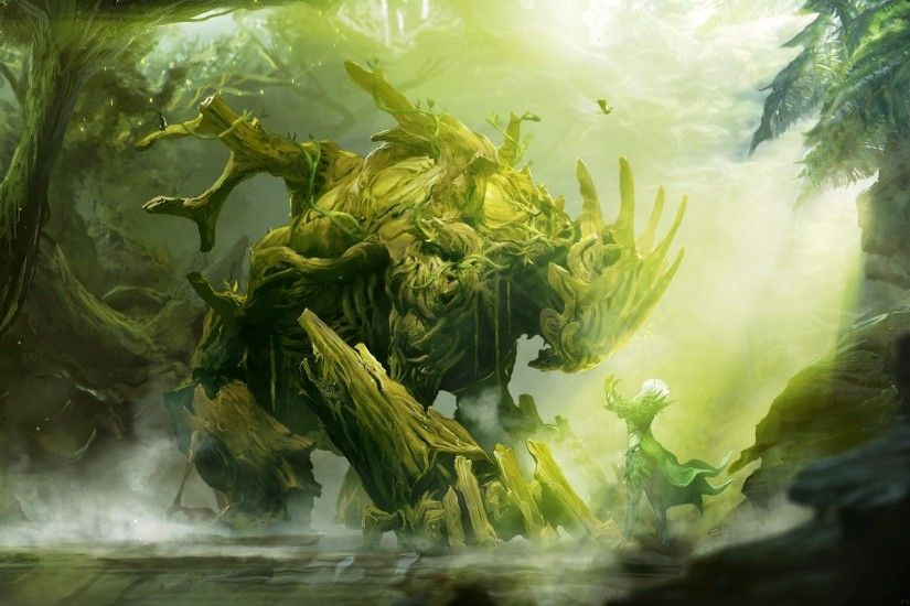 Druid Elemental Fantasy Art Guild Wars 2 Mage Mist Monsters Nature Oakheart  Rivers Sylvari Trees
