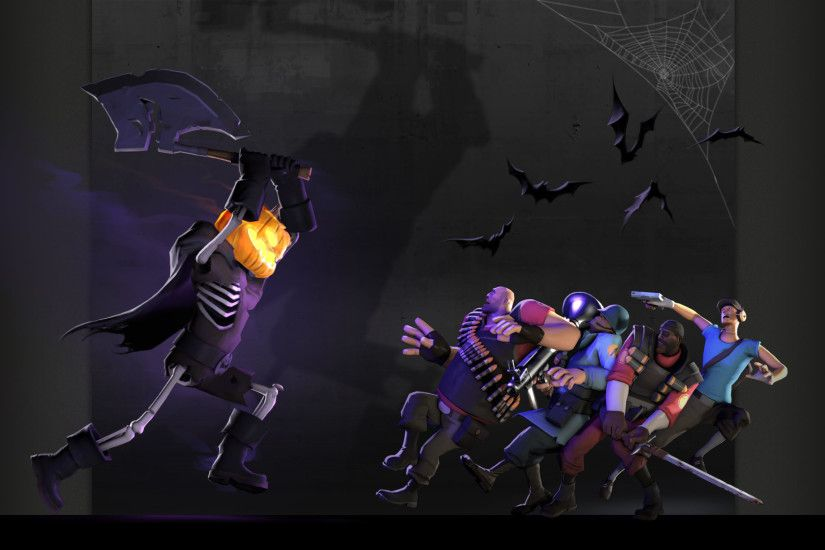 Heavy tf2 halloween scout tf2 demoman tf2 team fortress 2 jack o lantern  bats spider webs