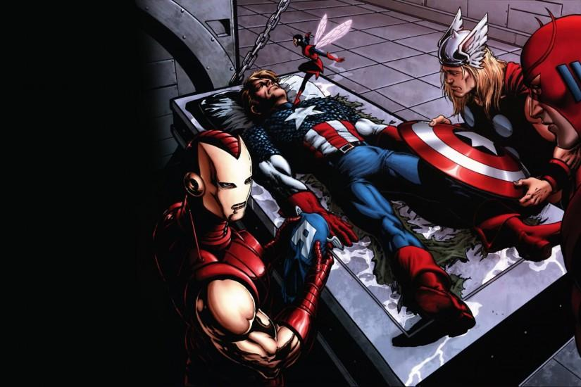 Preview wallpaper comics, marvel, thor, captain america, iron man 3840x2160