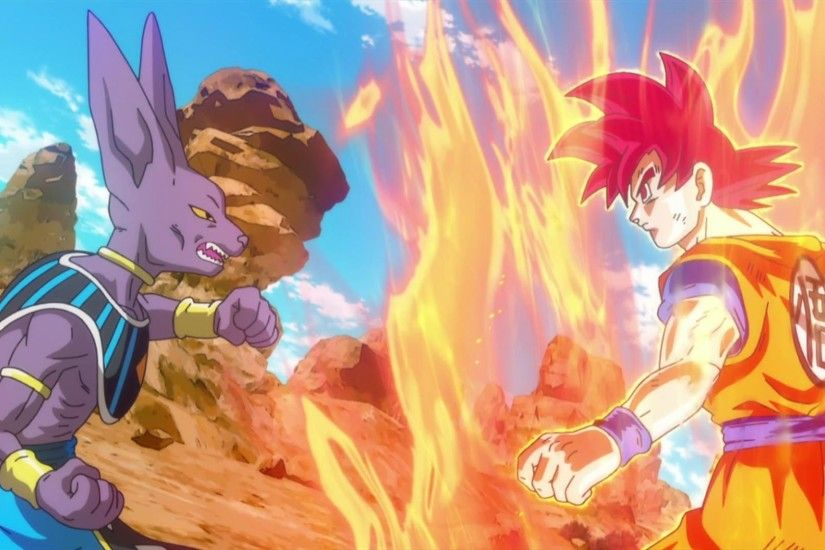 Dragon Ball Z Battle of Gods Bills vs Son Goku Super Saiyan God Wallpaper