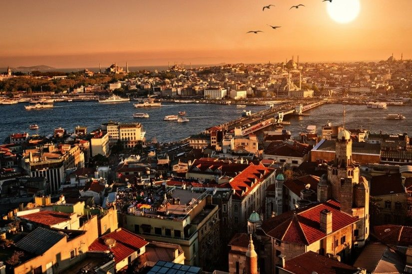 Preview wallpaper istanbul, sunset, top view, building 1920x1080