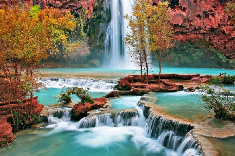 Beautiful waterfall nature scenery hd desktop wallpaper