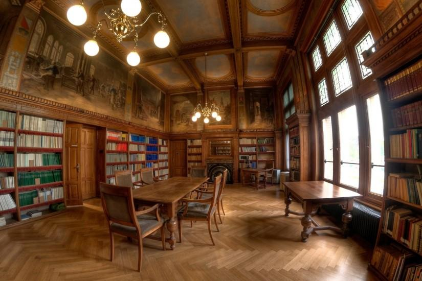 Preview wallpaper library, style, table, books, wooden 1920x1080