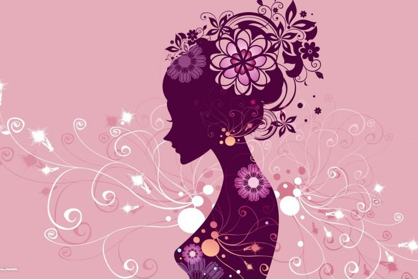 pink vector girl with flowers wallpaper