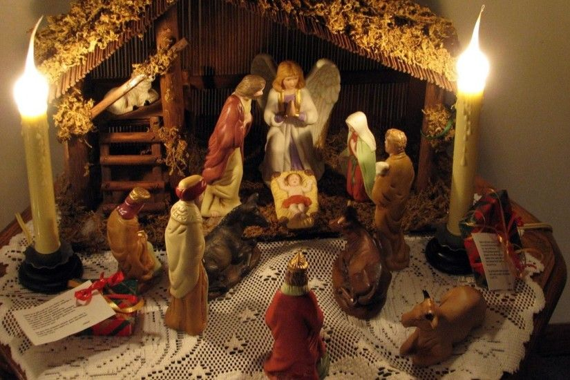 1920x1200 Wallpaper christmas, holiday, candles, jesus, angel, figurines,  people