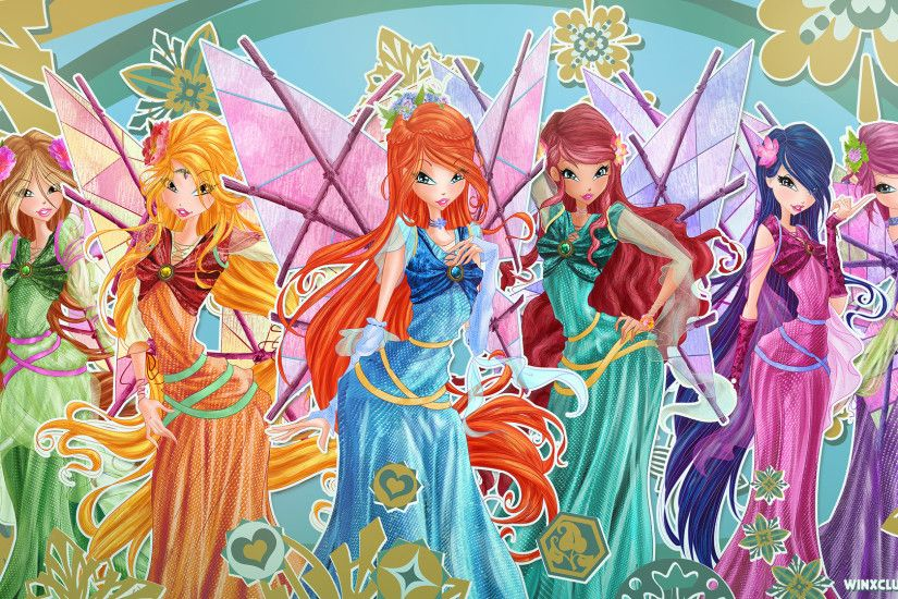 Wallpaper with all Winx in medieval dresses