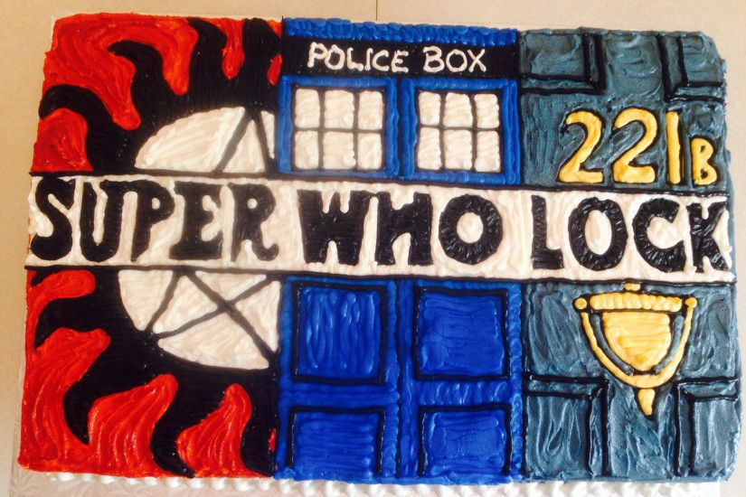 2048x1536 Multi fandom birthday cake! Supernatural, Dr. Who & Sherlock!