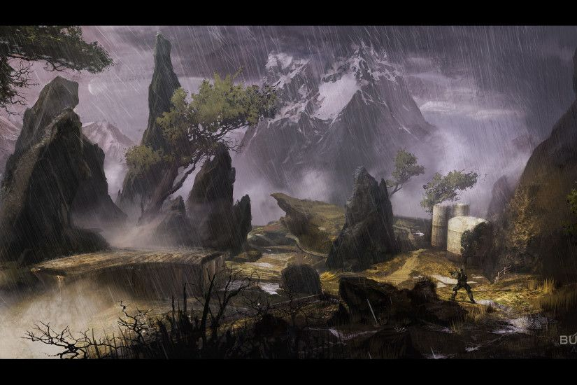 halo reach rainswept widescreen hd wallpaper