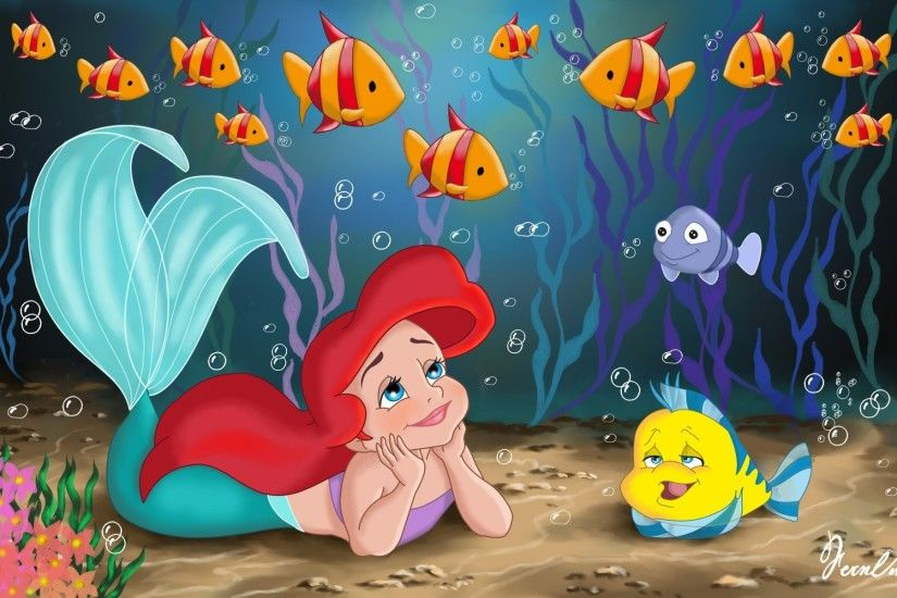 the little mermaid movie walt disney fanart childhood princess ariel sea  fish pretty child fairytale little