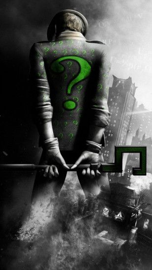 2160x3840 Wallpaper batman arkham city, riddler, back, city, black and white