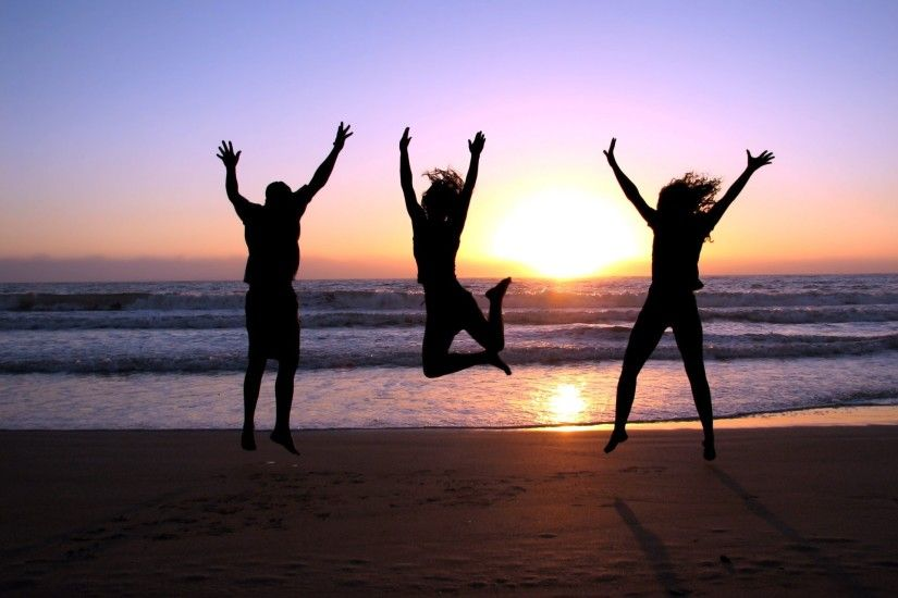 three happiness jump girls guy sea sunset beach beach