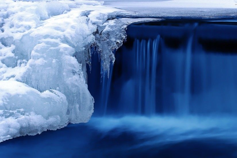 ... Wallpaper 8315 Icicles of ice in the winter of a frozen waterfall |  Stock Photo .