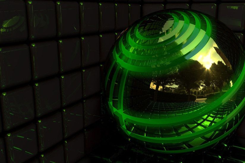 hd pics photos beautiful 3d green ball digital steel mirror hd quality  desktop background wallpaper