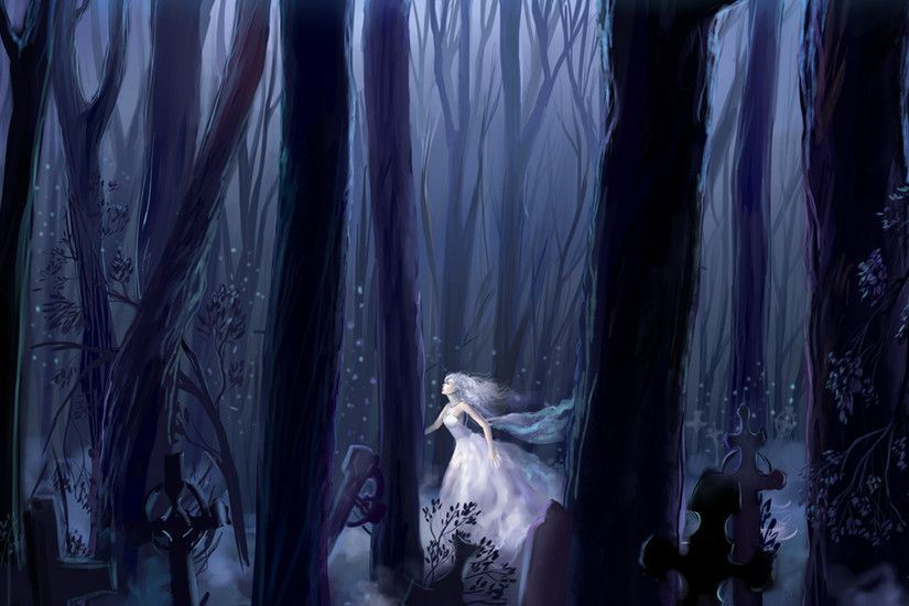 Sad Anime Girl White Dress | Girl, forest, night, running, white dress