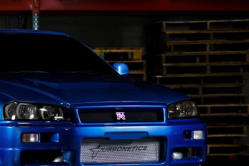Download Wallpaper 2048x2048 Nissan skyline, Gtr, R34, Blue, Front .