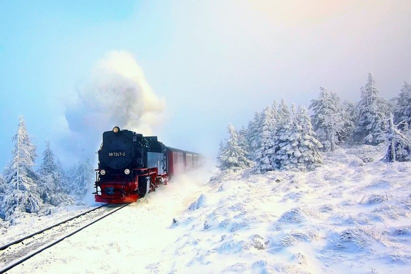 train steam engine winter snow forest