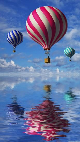 HD Mobile Wallpapers 1080p. 3d balloons in the blue sky and reflection in  water