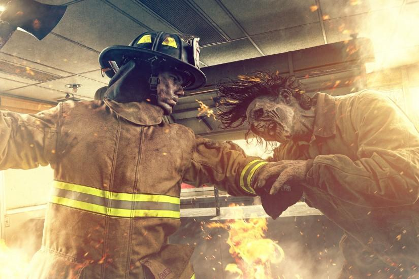 Download wallpaper Zombie VS Firefighter, fire, fight, fire, section  situations in resolution 2048x1152