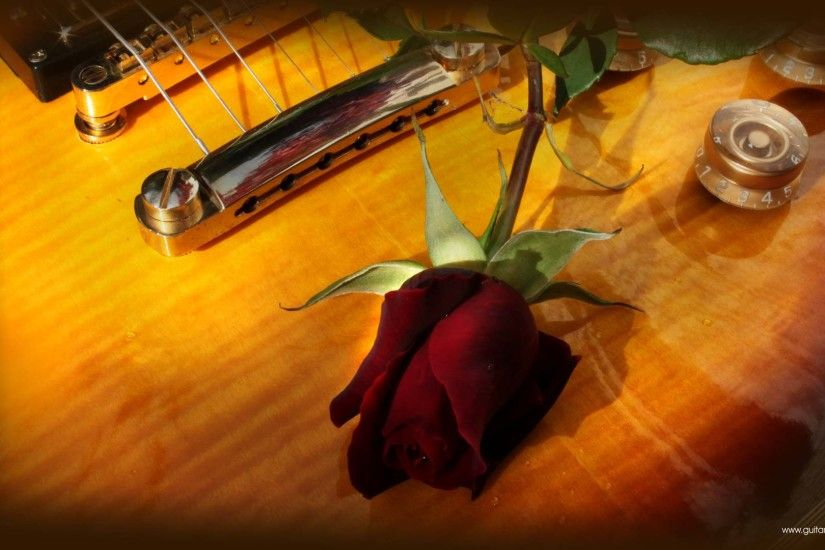 Guitar wallpaper, romantic looking Gibson Les Paul and red rose
