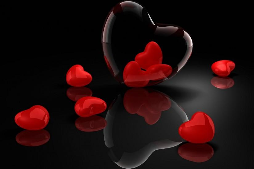 Wallpapers Backgrounds - Valentine Day February Hearts Black Background  wallpapers