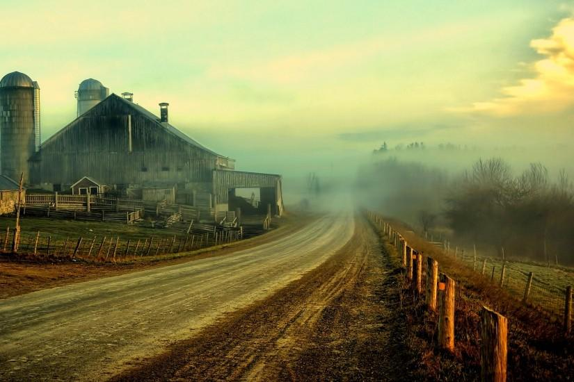 rustic roads fence sky clouds houses barn farm wallpaper background .