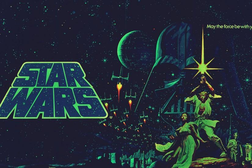 Artwork C3PO Darth Vader Leia Organa Luke Skywalker R2D2 Star Wars Wallpaper  ...