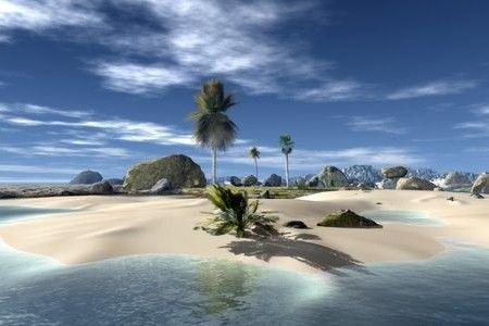 tropical, beach, sky, paradise, island, palm, 3d